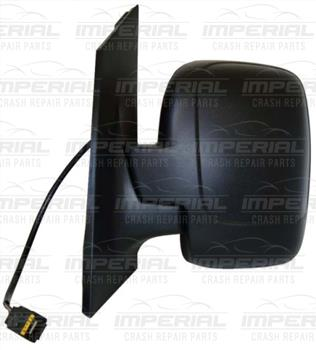 Fiat Scudo 2007 - 2016 Door Mirror Electric Heated Manual Fold Type , Black Cover (Single Glass) N/S