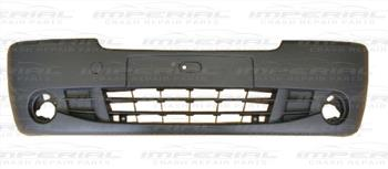Renault Trafic 2007-2014 Front Bumper With Lamp Holes - Black (Standard Models)