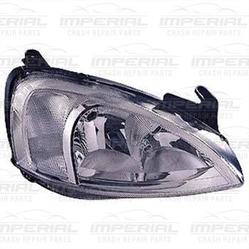 Vauxhall Combo 2002-2011 Headlamp Chrome Type With Pattern Lens Over Indicator  Off Side